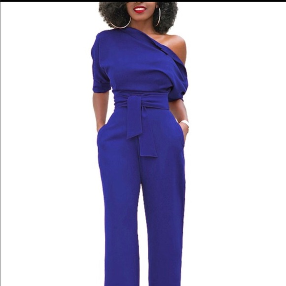 best online watch top brands Cobalt Blue One Shoulder Jumpsuit, XL